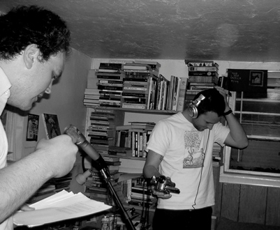 Joshua Marie Wilkinson with Mathias Svalina in Lincoln, NE  2006 (Photo by Julie Doxsee)