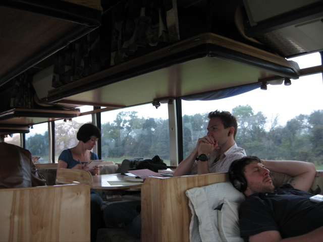 JMW with Tina Brown Celona & Matthew Zapruder on the Poetry Bus 2006