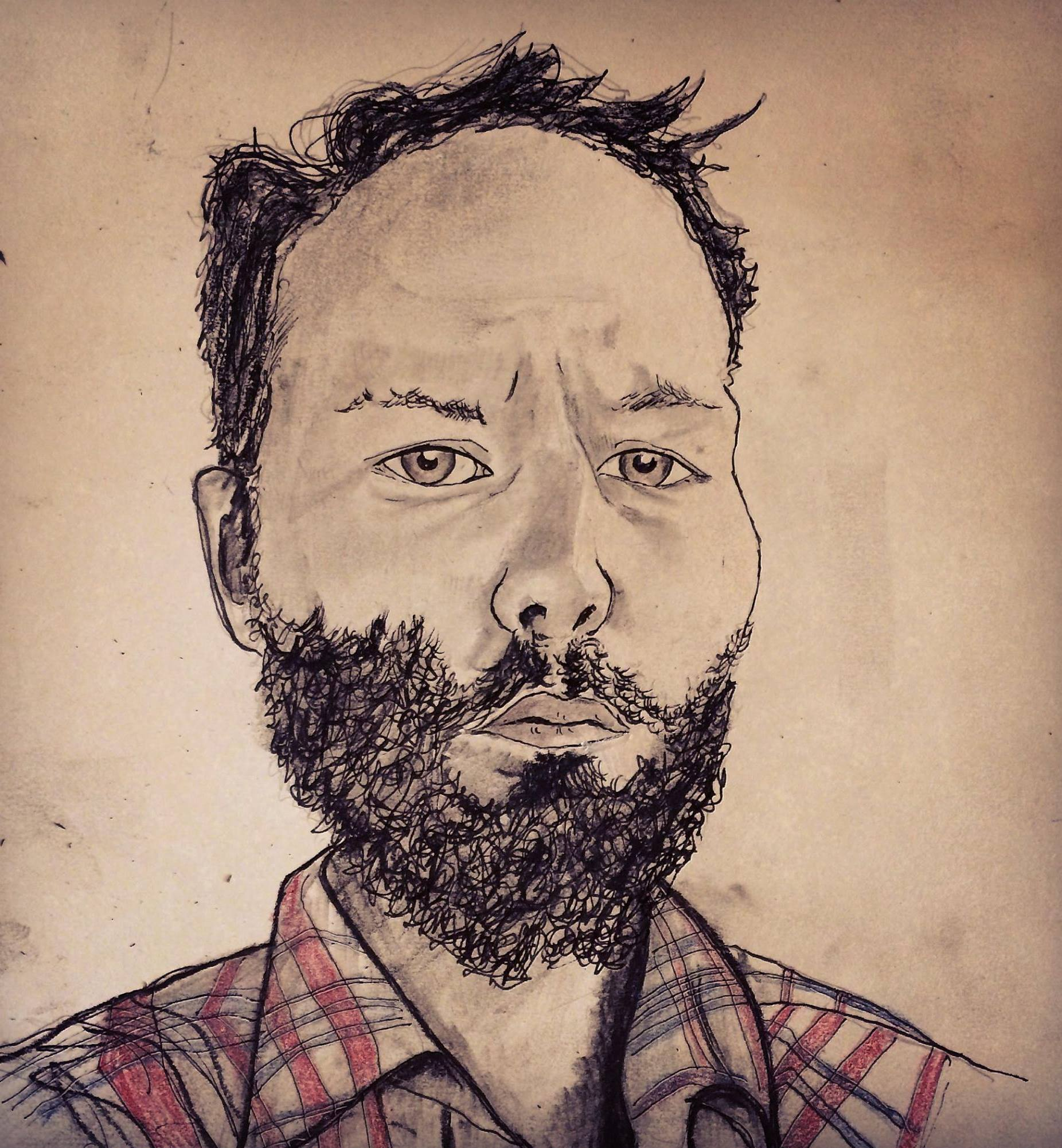 Joshua Marie Wilkinson drawn by Zachary Schomburg. 2015.