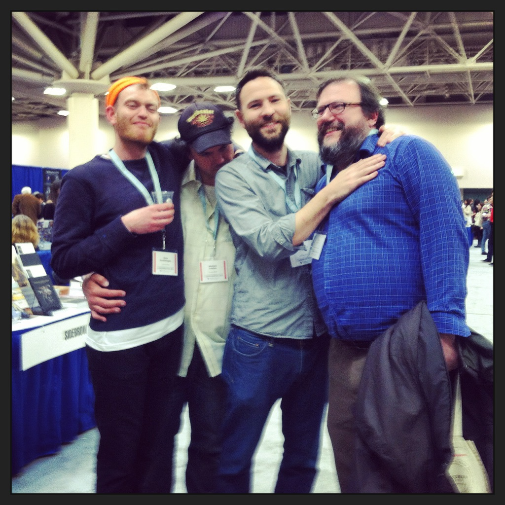 Joshua Marie Wilkinson with John Beer, Mathias Svalina, & Drew Swenhaugen in Minneapolis 2015 (Photo by Lisa Wells)