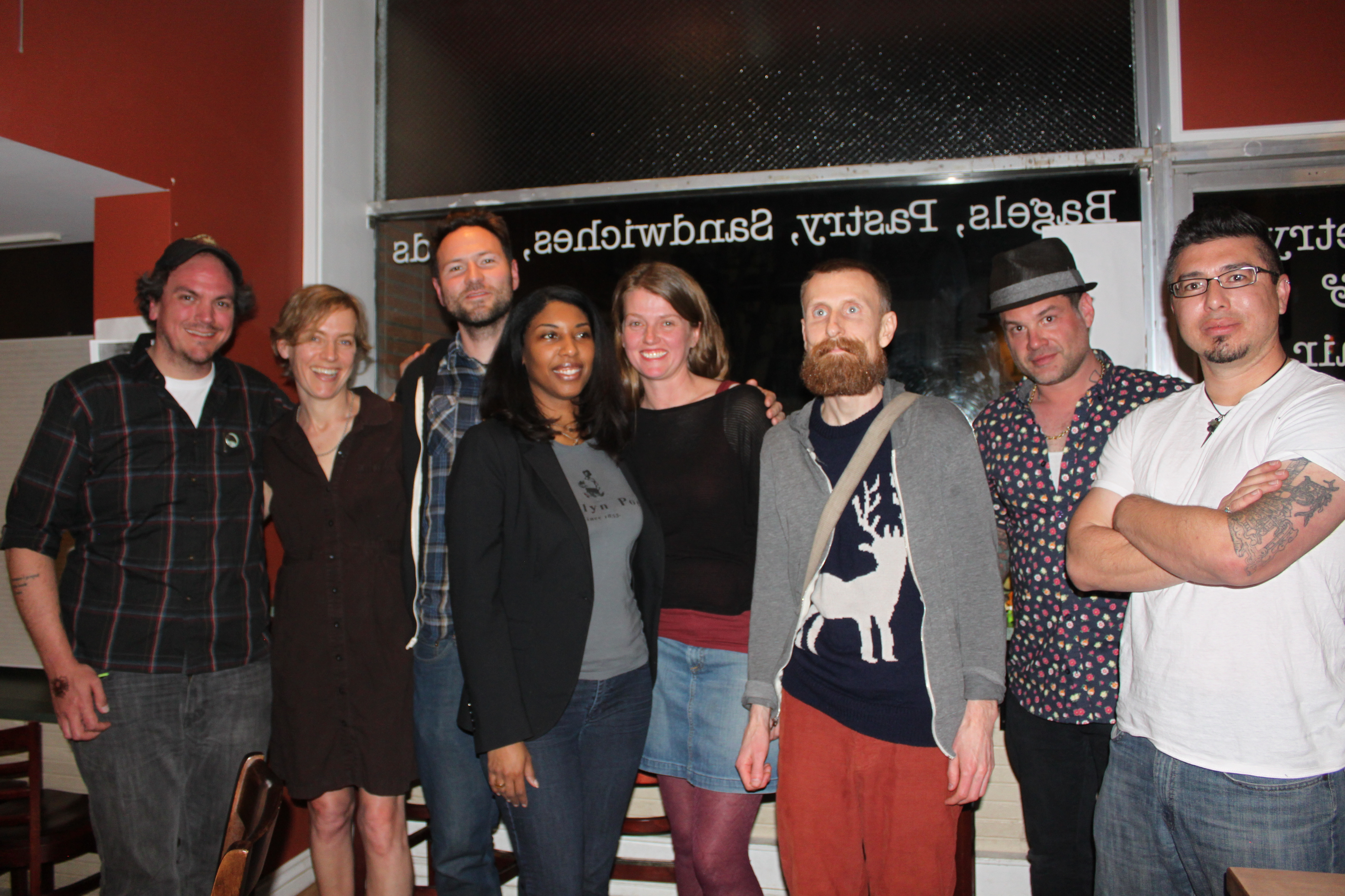 Joshua Marie Wilkinson with Mathias Svalina, Julie Carr, Khadijah Queen, Sommer Browning, Eric Baus, Noah Eli Gordon, & J. Michael Martinez in Boulder, CO 2015